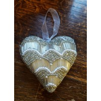 Hand Made Beaded Decoration - Silver Pearl - Heart