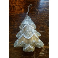 Hand Made Beaded Decoration - Silver Pearl - Christmas Tree
