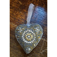 Hand Made Beaded Decoration - Aged Gold - Heart