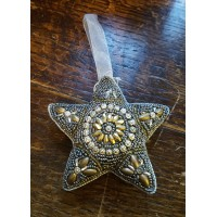 Hand Made Beaded Decoration - Aged Gold - Star