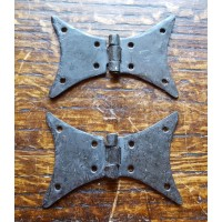 "3"" Butterfly Hinges - Hand Forged - Beeswax - Pair"