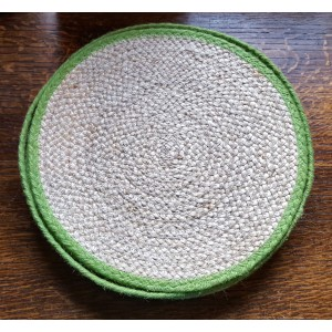 Braided Place Mats - Natural & Lime - Set/6