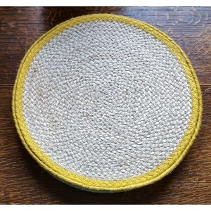 Braided Place Mats - Natural & Daffodil Yellow - Set/6