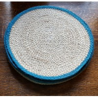 Braided Place Mats - Natural & Teal - Set/6