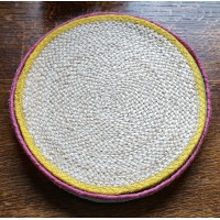Braided Place Mats - Natural & Mixed Colour Edging - Set/6