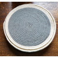 Braided Place Mats - Thistle Grey & Natural - Set/6