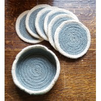 Braided Coasters - Thistle Grey & Natural - Set/6