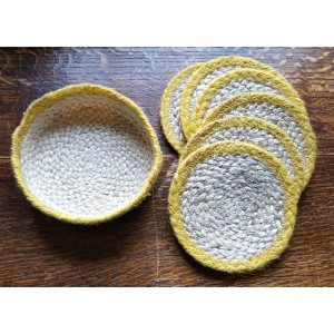 Braided Coasters - Natural & Daffodil Yellow - Set/6