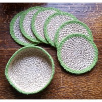 Braided Coasters - Natural & Lime - Set/6