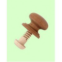 Wooden Cupboard Knob with Wood Bolt Fixing - Large