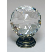 Cut Glass Crystal Cupboard Knob - Antique Finish - 30mm