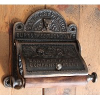 Toilet Roll Holder with Lid 'BURY ST LONDON' - Antique Copper