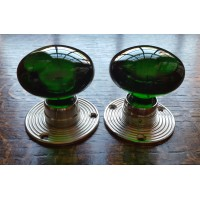 Glass Mortice Door Knobs - Green - Chrome Collar