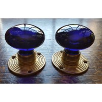 Glass Mortice Door Knobs - Deep Blue - Brass Collar - 55mm