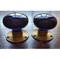 Glass Mortice Door Knobs - Deep Blue - Brass Collar - 60mm