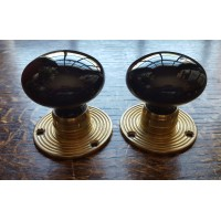 Glass Mortice Door Knobs - Opaque Black - Brass Collar - 55mm