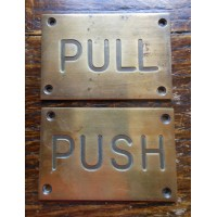 Reclaimed Brass Push & Pull Signs