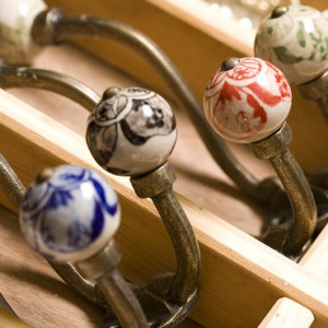 Brass Effect Hook With Patterned Ceramic Knobs - Tembo