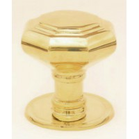 Octagonal Door Knob - Brass - Mortice