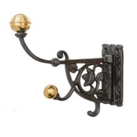 Victorian Style Hat & Coat  Hook - Cast Iron - Brass Tip