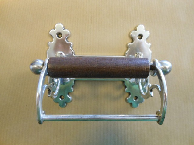 Vintage toilet roll holder aged silver Antique toilet roll holders