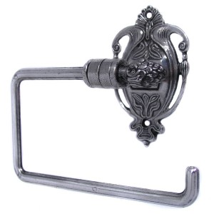 Nouveau Toilet Roll Holder - Antique Silver Plate