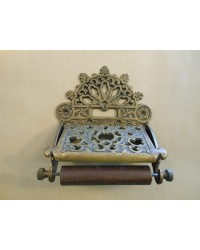 Ornate Toilet Roll Holder - Antique Brass