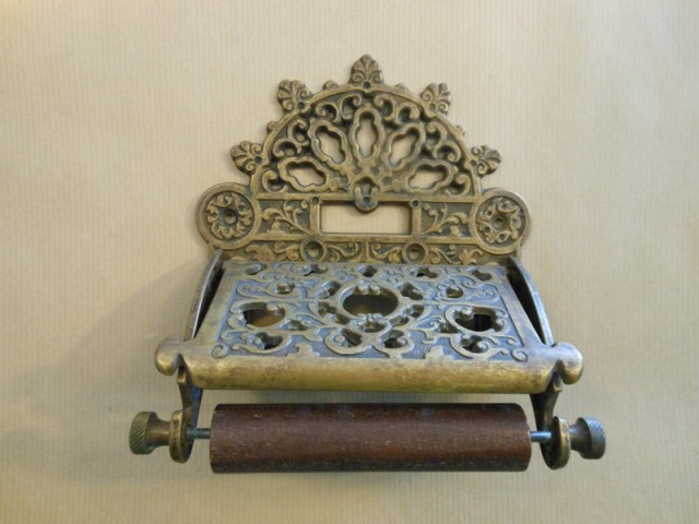 Ornate toilet roll holder antique brass Antique toilet roll holders