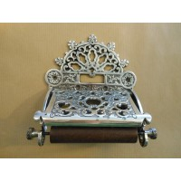 Ornate Toilet Roll Holder - Aged Silver
