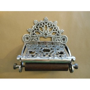 Ornate Toilet Roll Holder - Antique Silver Plate
