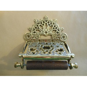 Ornate Toilet Roll Holder - Polished Brass