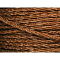 Antique Gold Electrical Cable - 3 Core - Fabric Covered Braided Cable - Per Metre