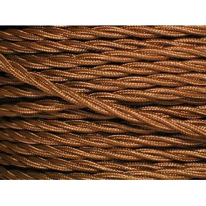 Antique Gold Electrical Cable - 3 Core - Fabric Covered Braided Cable