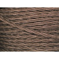 Brown Electrical Cable - 3 Core - Fabric Covered Braided Cable