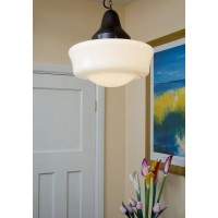 School Pendant - Flashed Opal Glass Shade - Antique Finish