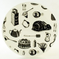 Emily Maude Fine Bone China Plate - Kitchenalia - Black & White