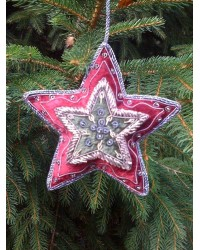 Embroidered Decoration - Wine & Moss Star