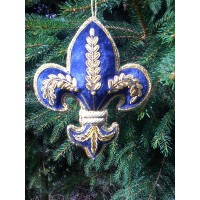 Embroidered Decoration - Navy & Gold Fleur De Lis
