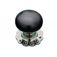 Bun Door Knob - Ebony - Nickel Collar & Backplates - Mortice & Rim