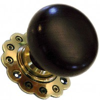 Bun Door Knob - Ebonised Wood - Brass Collar & Rose - Mortice & Rim