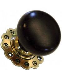Bun Door Knob - Ebonised Wood - Brass Collar & Rose - Mortice & Rim