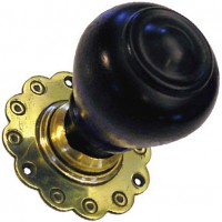 Tulip Door Knob - Ebonised Wood - Brass Collar & Rose - Mortice & Rim