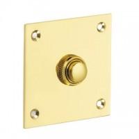 British Made - Square Bell Push - Brass