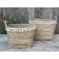 Seagrass Baskets with Fringes - Set/2 - Large