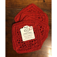 Square - Red Crocheted Coasters - Set/4