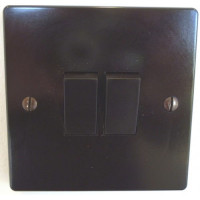 'Bakelite' Rocker Switch – 2 Way – Double – Brown