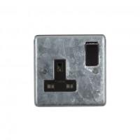 Galvanised Single 13A Socket - Black
