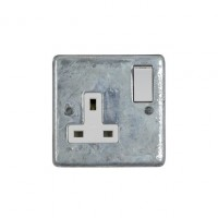 Galvanised Single 13A Socket - White