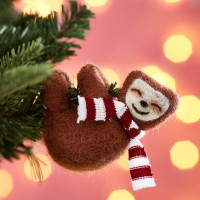 Swinging Sloth with Scarf Christmas Felt Decoration.