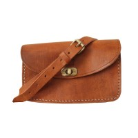 Shoulder Bag with Clasp - Dark Brown or Tan
